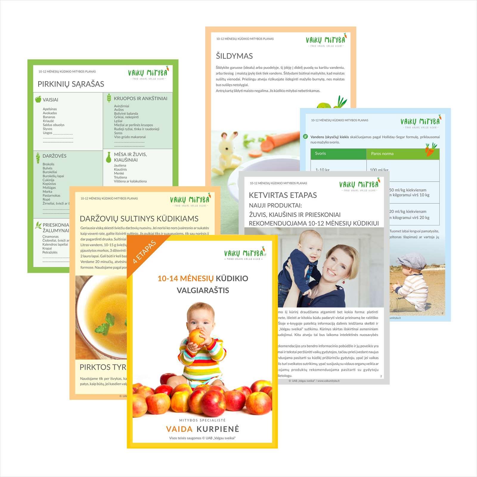10-14 mėnesių kūdikio valgiaraštis PDF formatu [4 etapas]